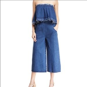 J.O.A. Designer Strapless Denim Jumpsuit